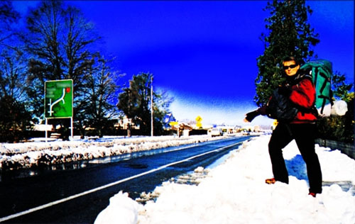 Hitchhiking in the snow